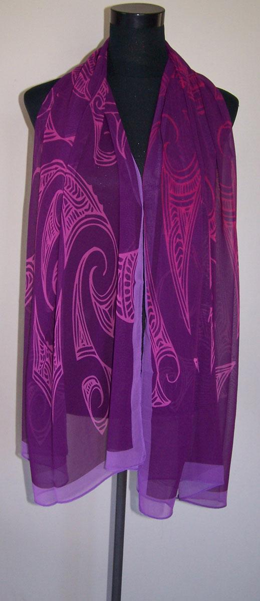 M03109 - Shawl Ta Moko Purple
