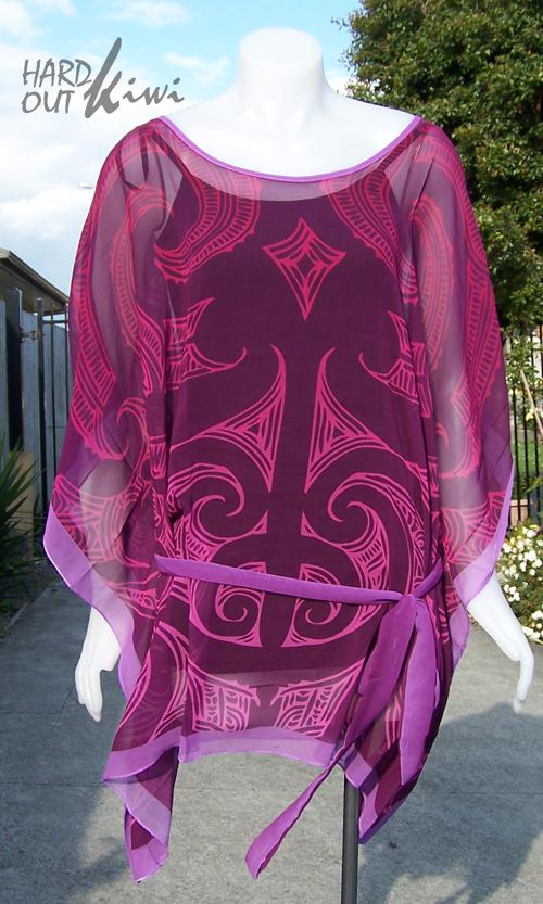 M03115 - Kaftan Top Purple-Lavender - Ta Moko Pattern