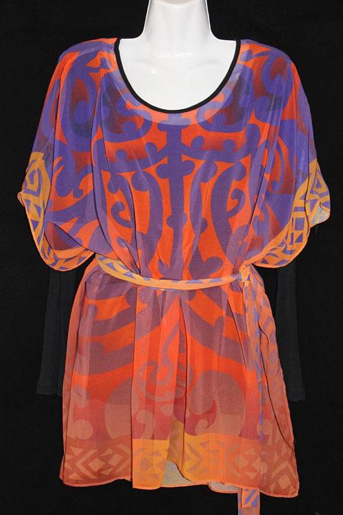 M03117 - Kaftan Top Orange-Purple - Koru Design