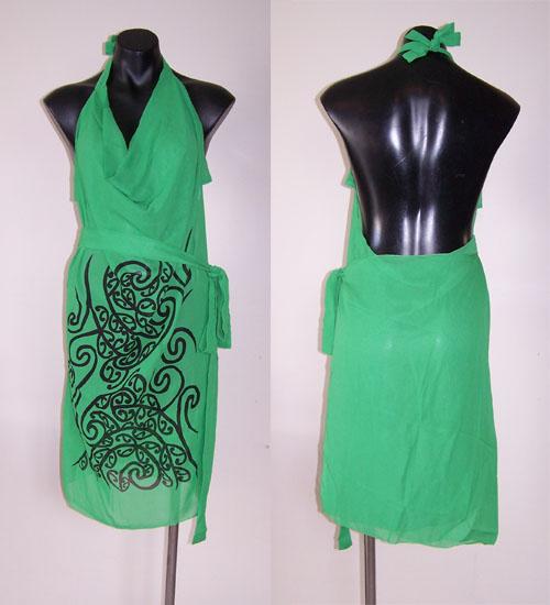 M03150 - Revolutionary Apron Wrap Green - Wairua pattern