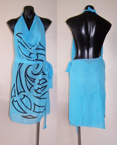 M03154 - Revolutionary Apron Wrap Ice Blue - Whakaora pattern