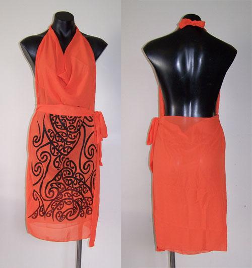 M03158 - Revolutionary Apron Wrap Orange - Wairua pattern