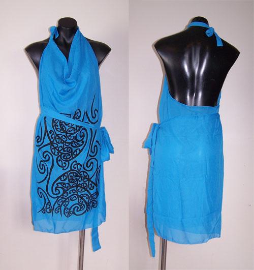 M03160 - Revolutionary Apron Wrap Sky Blue - Wairua pattern