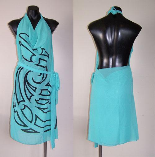 M03163 - Revolutionary Apron Wrap Turquoise - Whakaora pattern