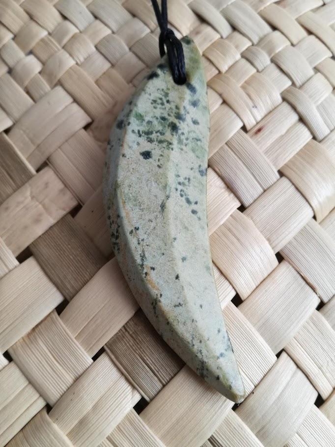 M01801 - Jade/Greenstone Carving Flower Jade Drop Pendant