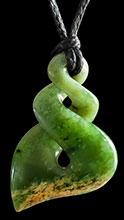 M07570 - Jade/Greenstone Carving Flower Jade Twist